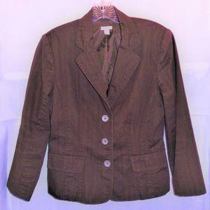 3-Button Stretch Blazer w/Back Strap Embellishment